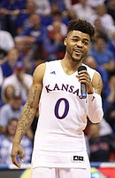 Kansas guard Frank Mason III (0) smiles during the Senior Night speeches following the JayhawksÕ 73-63, comeback win over Oklahoma.