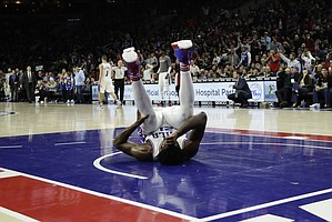 Philadelphia 76ers' Joel Embiid in action during an NBA basketball game against the Portland Trail Blazers, Friday, Jan. 20, 2017, in Philadelphia. (AP Photo/Matt Slocum)