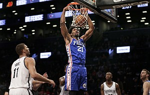 Philadelphia 76ers' Joel Embiid (21) dunks during the first half of the NBA basketball game against the Brooklyn Nets at the Barclays Center, Sunday, Jan. 8, 2017, in New York. (AP Photo/Seth Wenig)