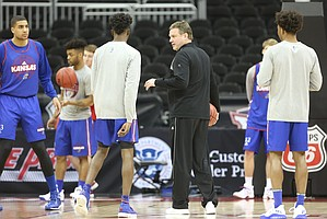 Kansas head coach Bill Self leads his players through an inbounding scenario during a practice on Wednesday, March 8, 2017 at Sprint Center.