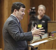 Stephen McAllister, representing the state of Kansas, gives oral arguments before the Kansas Supreme Court Thursday, March 16, 2017, in a legal fight over a state law banning a second-trimester abortion procedure and the larger question of whether the state constitution's Bill of Rights offered a fundamental right to an abortion. (Thad Allton/The Topeka Capital-Journal via AP, Pool)