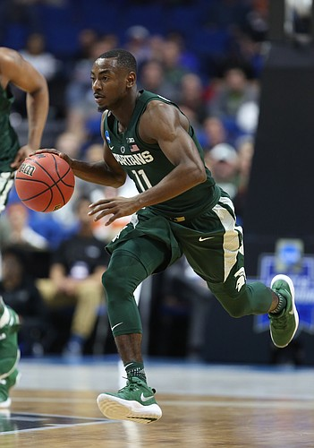 Michigan State guard Lourawls Nairn Jr. (11) pushes the ball up the court during the second half on Friday, March 17, 2017 at BOK Center in Tulsa, Oklahoma.
