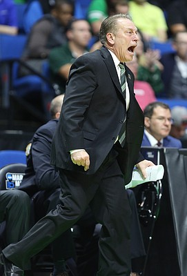 Michigan State head coach Tom Izzo gets angry with his defense during the second half on Friday, March 17, 2017 at BOK Center in Tulsa, Oklahoma.