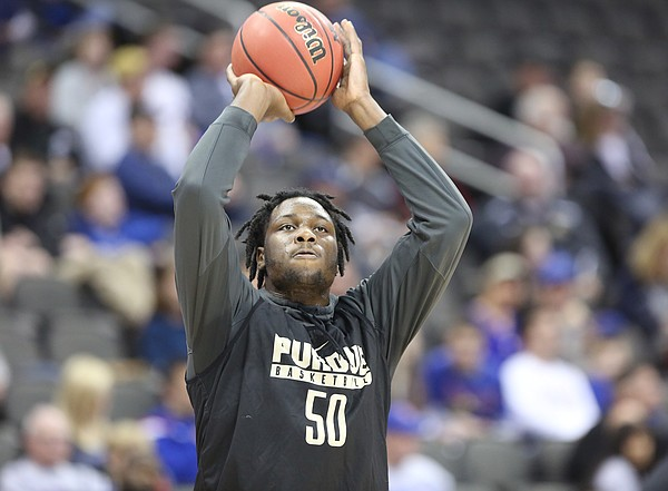 Purdue forward Caleb Swanigan (50) pulls up for a shot during a day of practices and press conferences prior to Thursday's game at Sprint Center in Kansas City, Mo.
