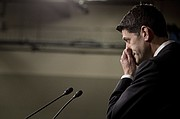 House Speaker Paul Ryan of Wis. pauses during a press conference on Capitol Hill in Washington, Friday, March 24, 2017. Republican leaders have abruptly pulled their troubled health care overhaul bill off the House floor, short of votes and eager to avoid a humiliating defeat for President Donald Trump and GOP leaders.(AP Photo/Andrew Harnik)