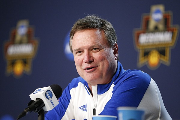 Kansas head coach Bill Self talks about facing Oregon during a press conference on Friday, March 24, 2017 at Sprint Center.