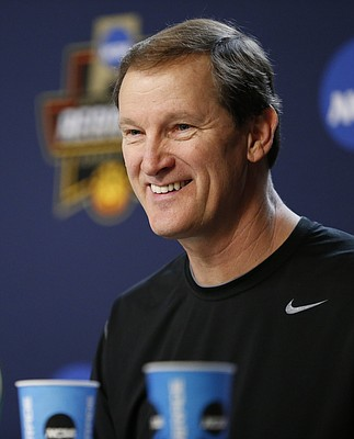 Oregon head coach Dana Altman smiles as he talks with media members during a press conference on Friday, March 24, 2017 at Sprint Center.