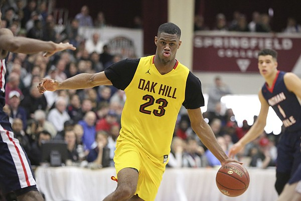 Oak Hill Academy's Billy Preston #23 in action against Nathan Hale during the second half of a high school basketball game at the 2017 Hoophall Classic on Monday, January 16, 2017, in Springfield, MA. Nathan Hale won 80-77. (AP Photo/Gregory Payan)