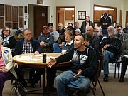Jake Wall of Topeka speaks during a town hall meeting in Silver Lake on Saturday, urging his area lawmakers to override Gov. Sam Brownback's veto of a Medicaid expansion bill.