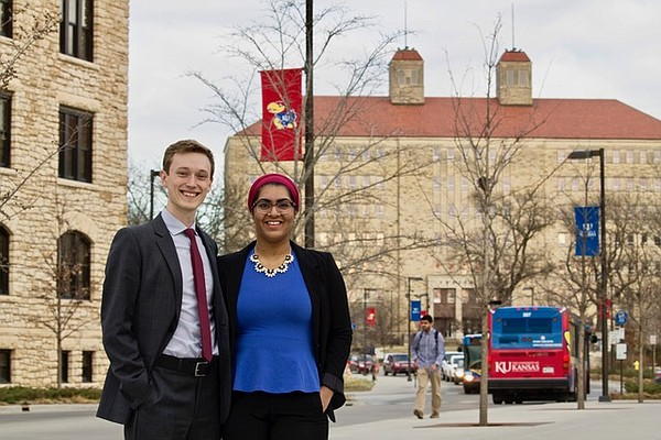 University of Kansas 2017-18 KUnited coalition student body presidential candidate Tomas Green and vice presidential candidate Zoya Khan.