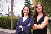 University of Kansas 2017-18 OneKU coalition student body presidential candidate Mady Womack (right) and vice presidential candidate Mattie Carter.