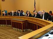 Members of the Legislative Coordinating Council are, from left, House Minority Leader Jim Ward, House Majority Leader Don Hineman, House Speaker Ron Ryckman, Senate President Susan Wagle, Senate Majority Leader Jim Denning, and Senate Minority Leader Anthony Hensley.