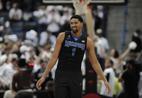 Memphis' Dedric Lawson in the first half of an NCAA college basketball game, Thursday, Feb. 16, 2017, in Hartford, Conn. (AP Photo/Jessica Hill)