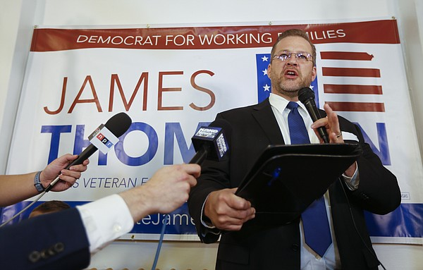 Democrat James Thompson speaks to supporters at the Murdock Theatre in Wichita, Kan., Tuesday, April, 11, 2017. Thompson came up short in his bid to beat Republican state Treasurer Ron Estes in a special election to replace current CIA director and former U.S. Rep Mike Pompeo in the Kansas 4th congressional district. (Travis Heying/The Wichita Eagle via AP)
