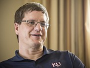 Brian McClendon talks with the Lawrence Journal-World on Wednesday, April 12, 2017, at the News Center. McClendon, a Lawrence native and University of Kansas graduate, was previously a vice president at Uber and Google, and co-founded Google Earth.