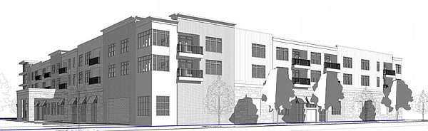 This drawing shows a northeast perspective of a proposed grocery store and apartment building at 700 New Hampshire St.