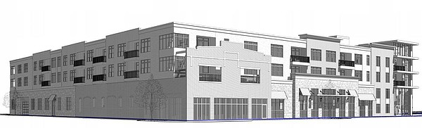 This drawing shows a northwest perspective of a proposed grocery store and apartment building at 700 New Hampshire St.