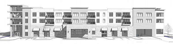 This drawing shows a south perspective of a proposed grocery store and apartment building at 700 New Hampshire St.
