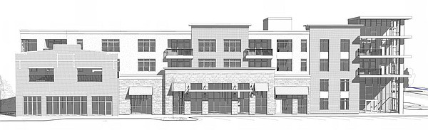 This drawing shows a west perspective of a proposed grocery store and apartment building at 700 New Hampshire St.