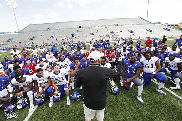 Kansas head football coach David Beaty addresses the team following the 2017 Spring Game on Saturday, April 15 at Memorial Stadium.
