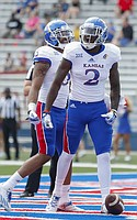 Team Jayhawks receiver Daylon Charlot roars after scoring what proved to be the winning touchdown during the fourth quarter of the 2017 Spring Game on Saturday, April 15 at Memorial Stadium.