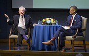 CBS journalist Bob Schieffer, left, gives an anecdote about covering news of the Monica Lewinsky scandal during an interview with University of Kansas junior Jackson Kurtz, during the presentation of the William Allen White citation on Thursday, April 20, 2017 in Woodruff Auditorium at the Kansas Union. Schieffer accepted the 2017 citation on behalf of his colleague Charlie Rose, who was unable to attend for health reasons.