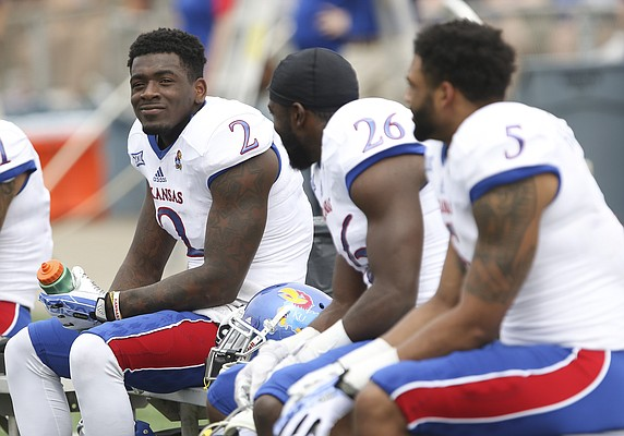 Kansas receiver Daylon Charlot sits with his fellow position players during the 2017 Spring Game on Saturday, April 15 at Memorial Stadium.