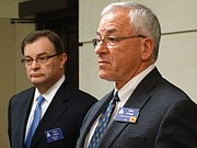 Kansas Policy Institute president Dave Trabert, left, and former Kansas House Speaker Mike O'Neal announce the formation of the Kansas Justice Institute, which may get involved in future school finance litigation.