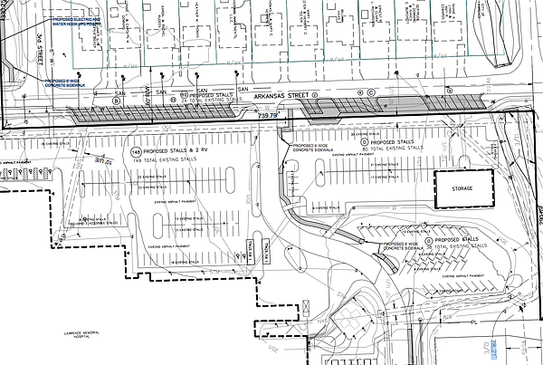 Plans for adding angled parking stalls along Arkansas Street. Courtesy: City of Lawrence/Landplan Engineering