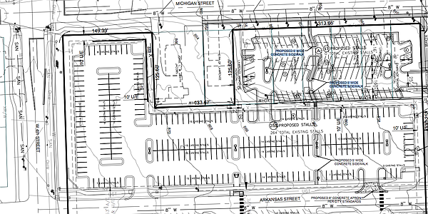 Plans showing the new Michigan Street Parking lot. Courtesy: City of Lawrence and Landplan Engineering.