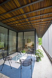 A patio just off the main entrance of the newest Studio 804 house located at 1330 Brook Street in East Lawrence.