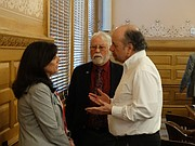 Rep. Melissa Rooker, R-Fairway, left, talks with Democratic Reps. Ed Trimmer of Winfield and Tom Sawyer of Wichita during a break Friday of the K-12 Education Budget Committee.