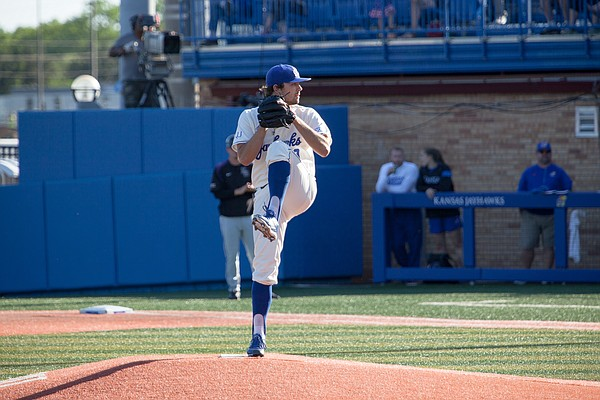 Kansas pitcher Jackson Goddard winds up for a pitch in the second inning against Kansas State in the Sunflower Showdown on Friday, May 12, 2017 at Hoglund Ballpark.