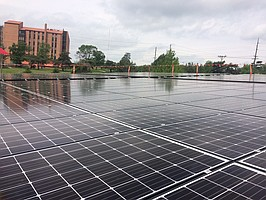 338 Solar Panels installed by Good Energy Solutions on top of Fire Station No. 5.