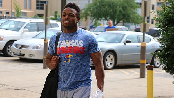 Incoming University of Kansas freshman Dom Williams, a four-star running back from Independence High, in Frisco, Texas, arrives at KU Sunday morning.