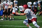 Eudora senior Khalil Thrasher (33) prepares to catch the ball during the University of Kansas football team camp at Memorial Stadium on June 5, 2017.