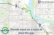 The city is conducting an alignment study regarding two gaps in the trail that will travel through downtown and East Lawrence and northern Lawrence.