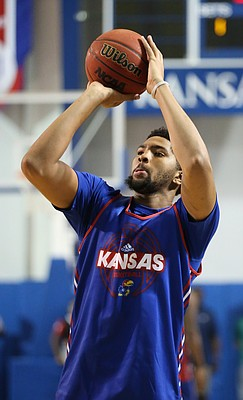 Dedric Lawson puts up a shot during a scrimmage on Wednesday, June 7, 2017 at the Horejsi Family Athletics Center.