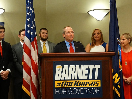 In this photo from June 20, 2017, Jim Barnett, a former state senator and 2006 Republican nominee for governor, announces that he plans to run again for governor in 2018.