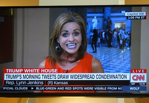 U.S. Rep. Lynn Jenkins of Kansas is interviewed on CNN Thursday after she called out President Donald Trump on Twitter for making demeaning comments about a female TV news anchor.