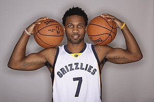 Memphis Grizzlies guard Wayne Selden Jr. poses for a picture on NBA basketball media day Monday, Sept. 26, 2016, in Memphis, Tenn. (AP Photo/Mark Humphrey)