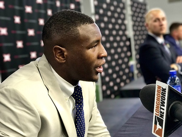 The Big 12's preseason Defensive Player of the Year, Kansas junior defensive end Dorance Armstrong Jr. answers questions at the Big 12 Media Days, in Frisco, Texas, on July 17, 2017.