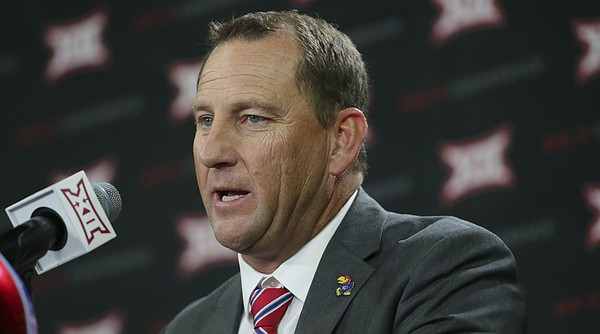 Kansas head football coach David Beaty speaks to reporters during the Big 12 NCAA college football media day in Frisco, Texas, Monday, July 17, 2017. (AP Photo/LM Otero)