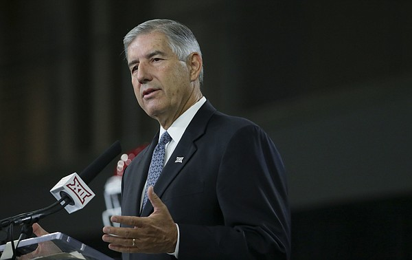 Big 12 commissioner Bob Bowlsby speaks to reporters during the Big 12 NCAA college football media day at the Dallas Cowboys practice facilities in Frisco, Texas, Monday, July 17, 2017.