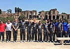 Fresh off the plane in Rome, the members of the Kansas basketball team pose together on Tuesday, Aug. 1, 2017, at one of their first stops, the Circus of Maxentius, an ancient complex of Roman buildings constructed between A.D. 306 and 312.