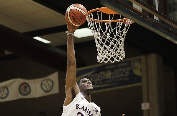 Kansas forward Billy Preston scores during an exhibition game between KU and an Italian selection of players, in Seregno, near Milan, Italy, Saturday, Aug. 5, 2017.