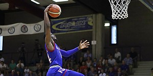Kansas guard Malik Newman goes up for a dunk in an exhibition game between KU and Italy All Star A2, in Seregno, near Milan, Italy, Sunday, Aug. 6, 2017.