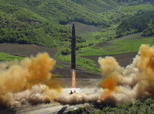This file photo distributed by the North Korean government shows what was said to be the launch of a Hwasong-14 intercontinental ballistic missile, ICBM, in North Korea's northwest, Tuesday, July 4, 2017. Independent journalists were not given access to cover the event depicted in this photo.