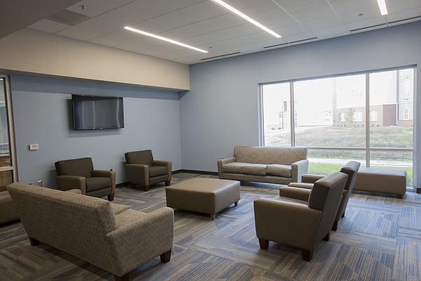 A commons space on the first floor of the newly-constructed Downs Hall.