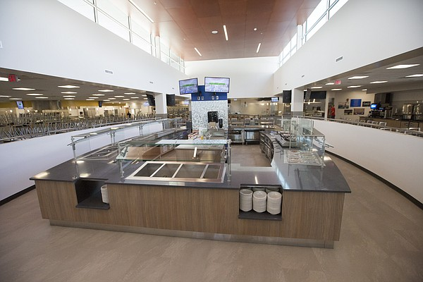 A food station in the center of the South Dining Commons.
